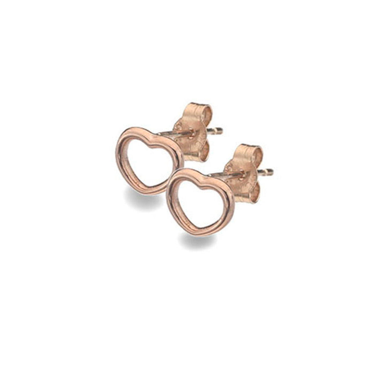 9ct Rose Gold rounded Heart Stud Earrings