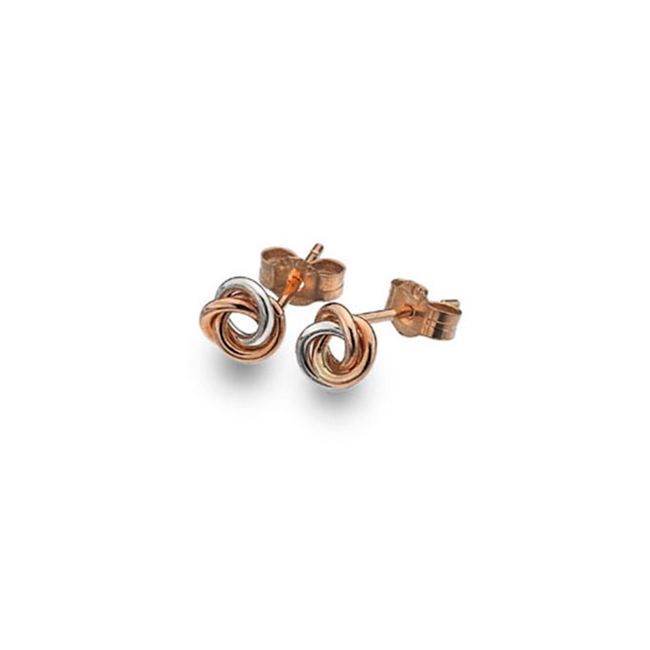105bf5d6e6a6b 9ct Rose & White Gold Knot Stud Earrings