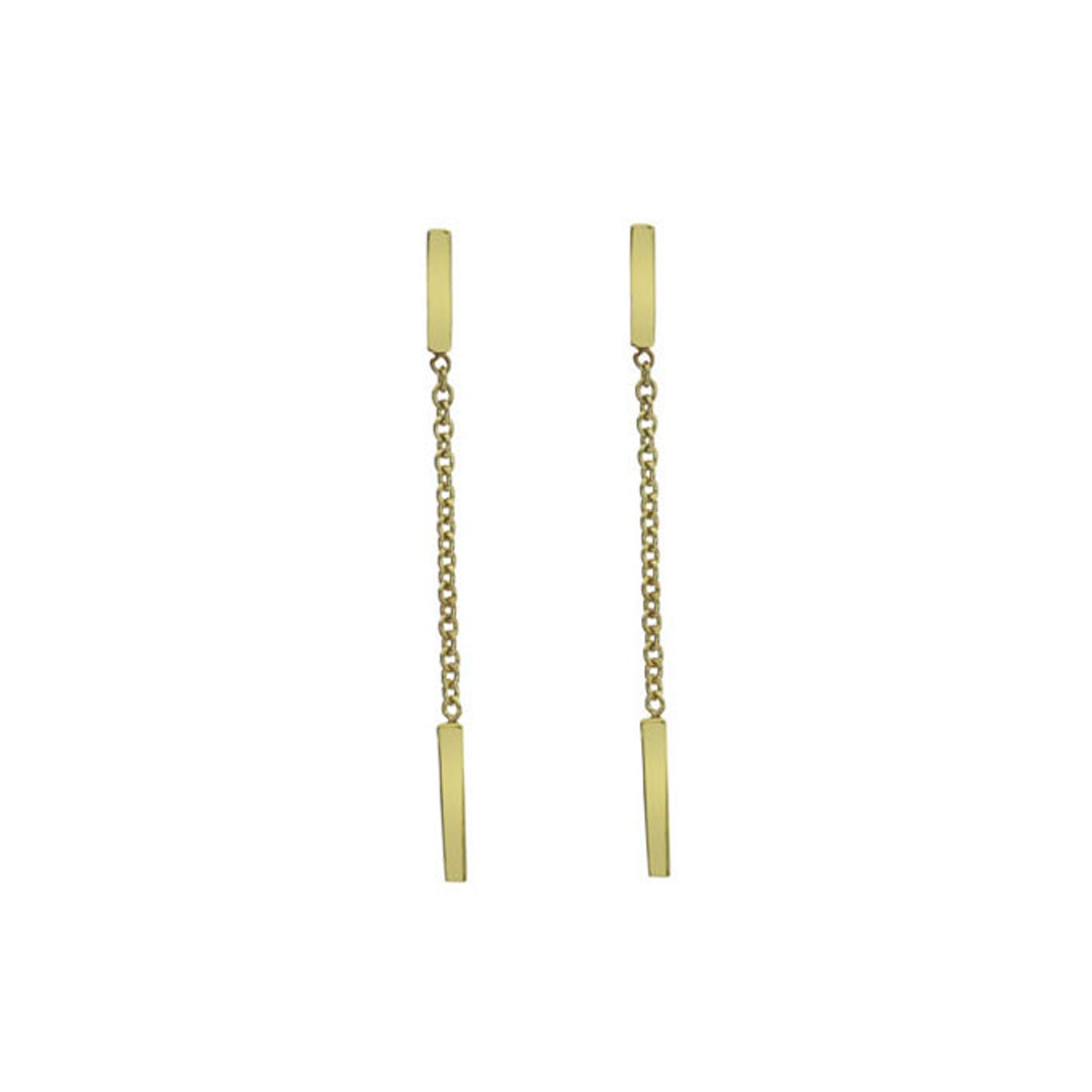 9ct Yellow Gold bar & chain Drop Earrings