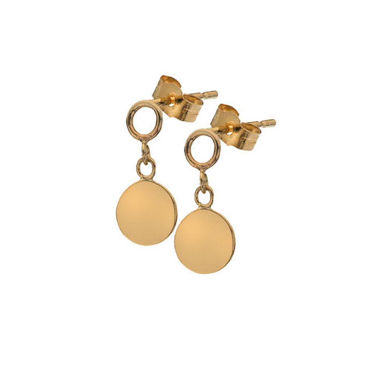 a78d96a921f 9ct Yellow Gold disc Drop Earrings