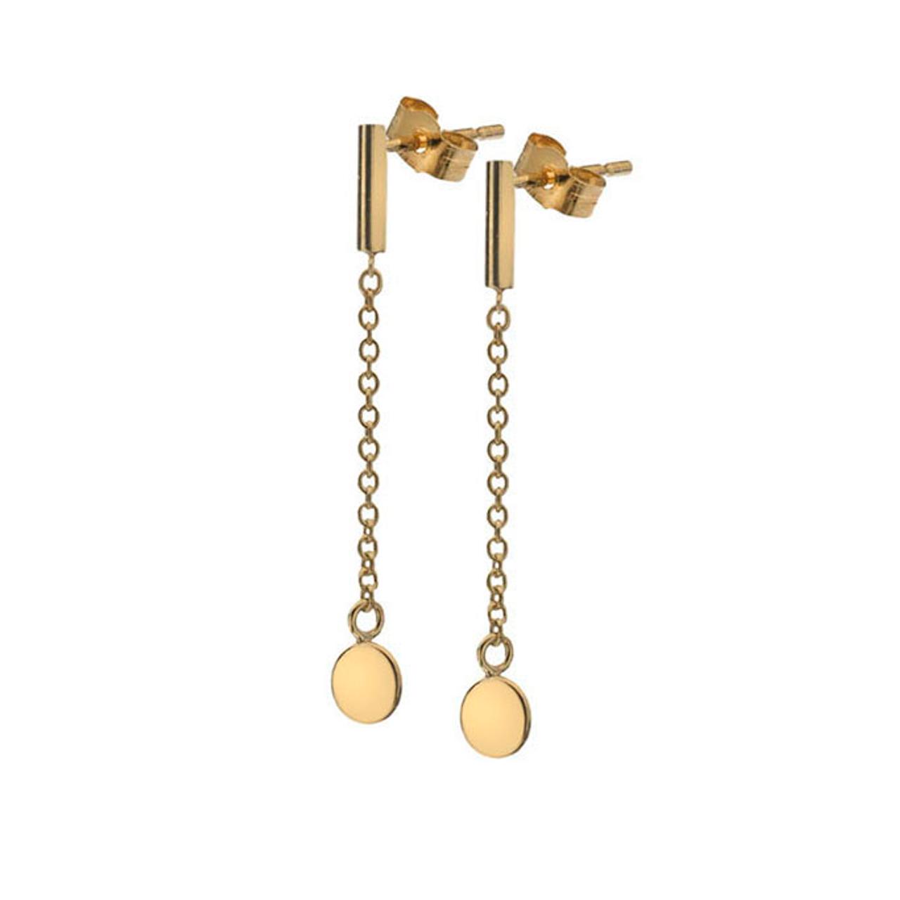 9ct Yellow Gold disc long Drop Earrings