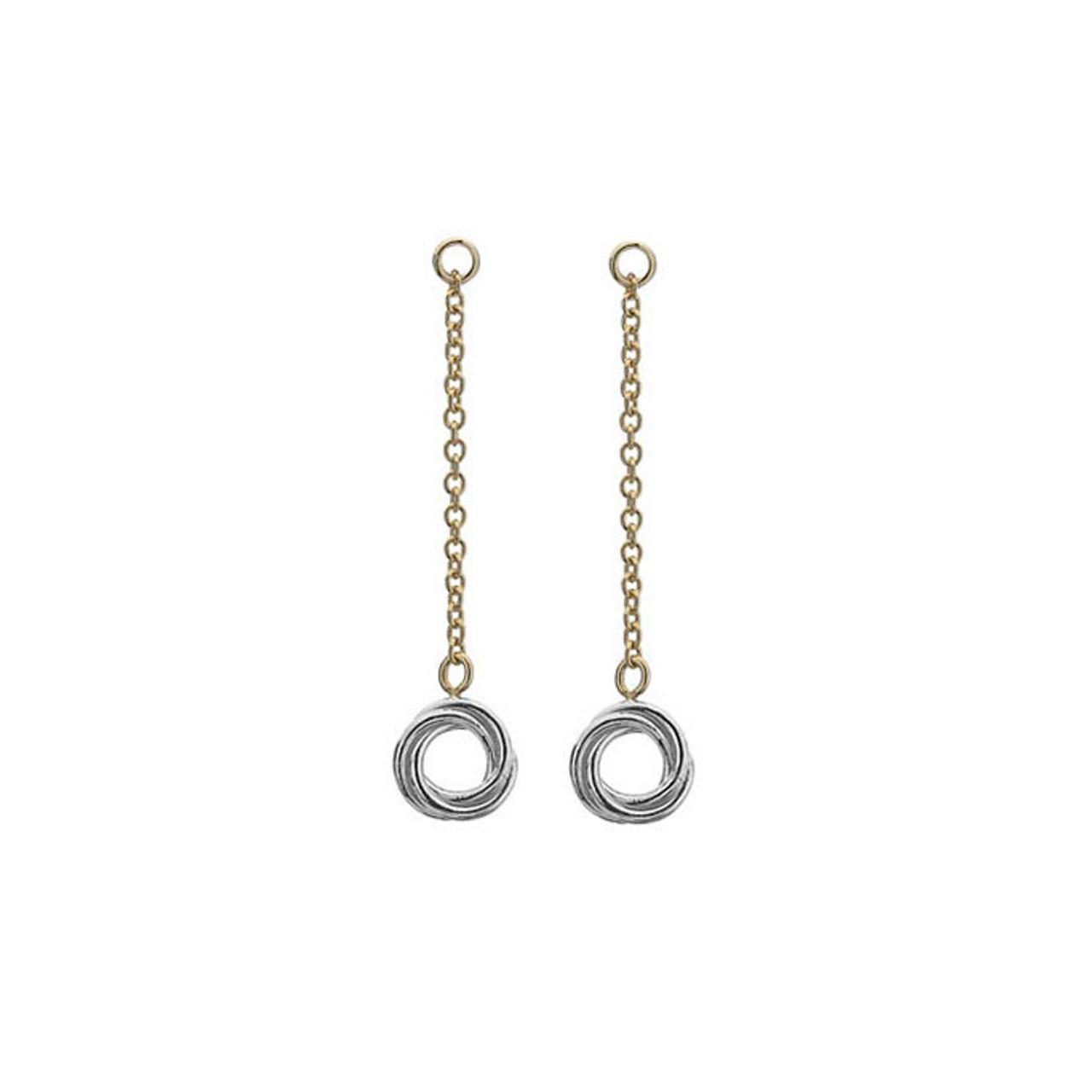 9ct Yellow & White Gold Woolmark Drop Earrings