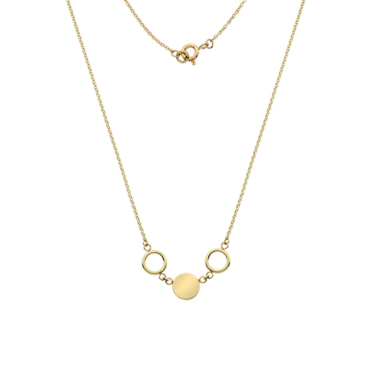 9ct Yellow Gold multi-circle Necklace