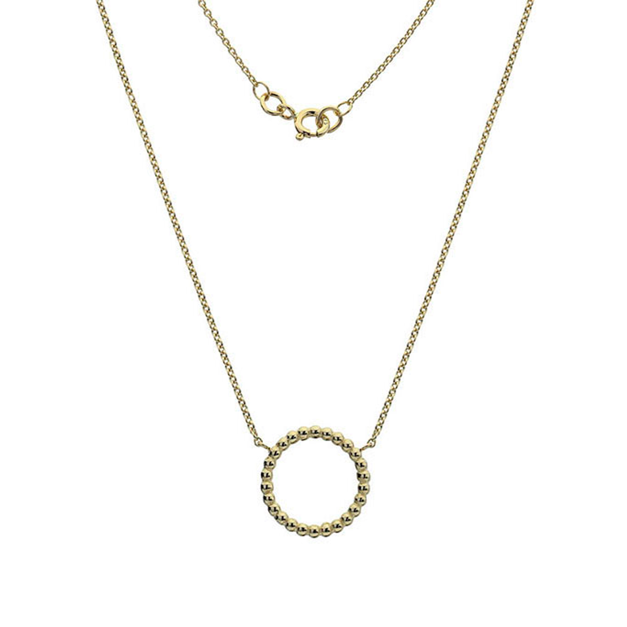 9ct Yellow Gold beaded circle Pendant on Chain.