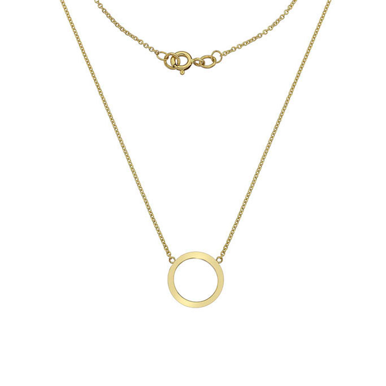 9ct Yellow Gold open circle Pendant on Chain.