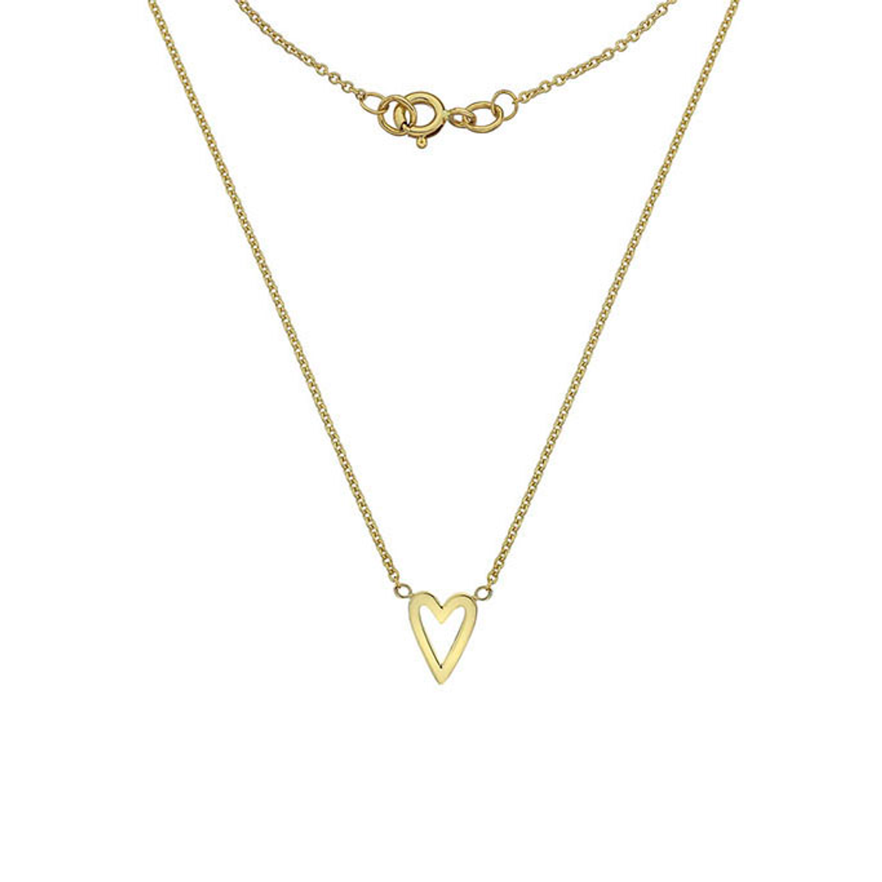 9ct Yellow Gold long Heart Pendant on Chain
