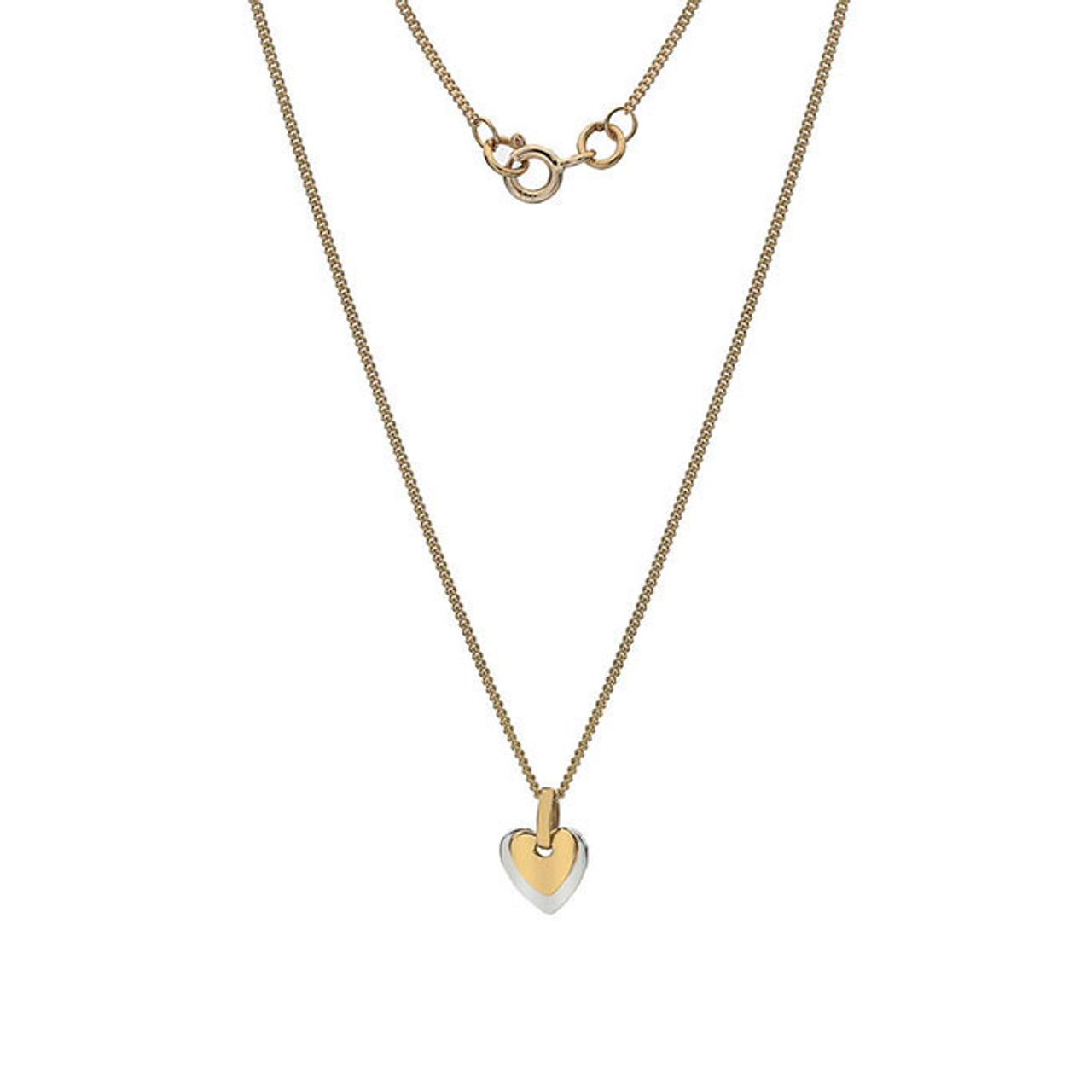 9ct Yellow & White Gold Heart Pendant on Chain