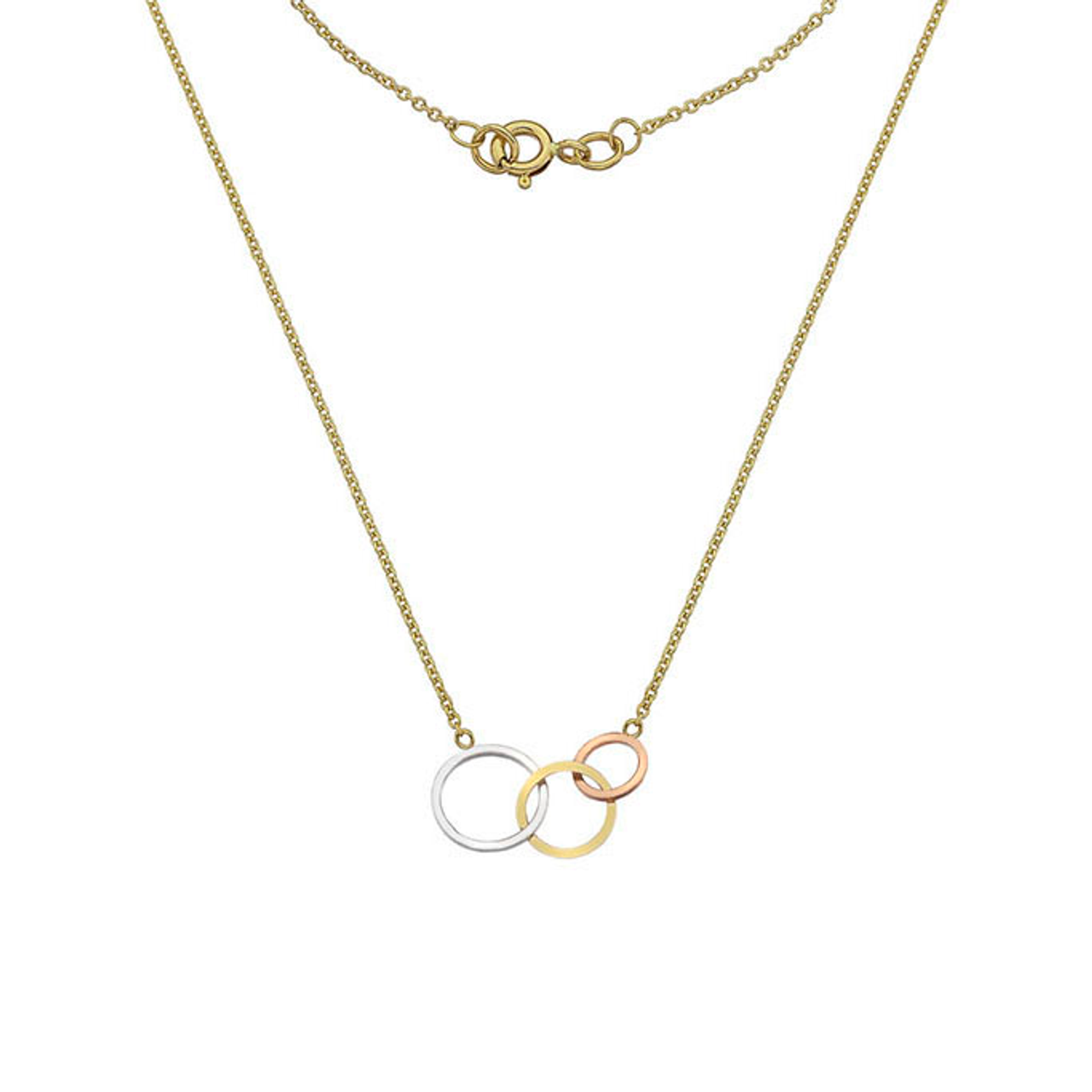 9ct Yellow, White & Rose Gold circle Necklace