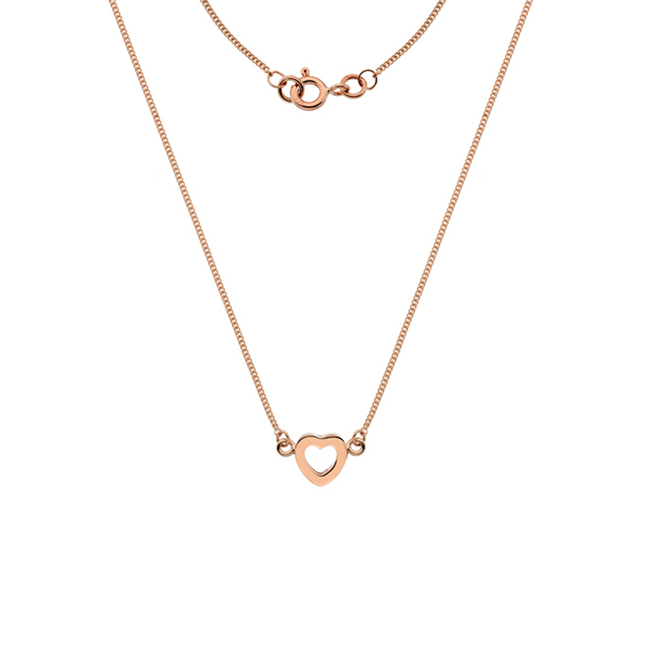 9ct Rose Gold Heart shaped Pendant on Chain.