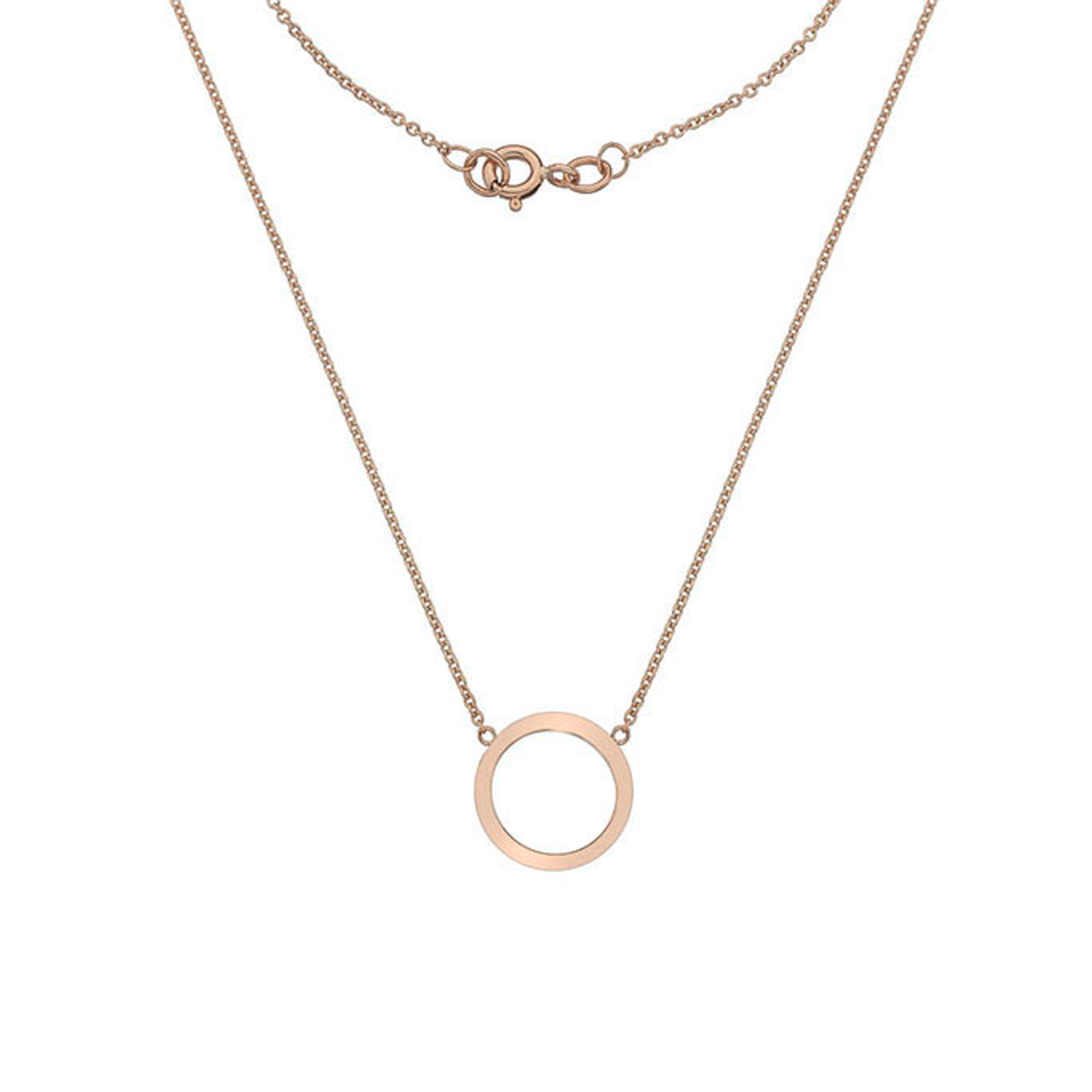 9ct Rose Gold circle Pendant on Chain