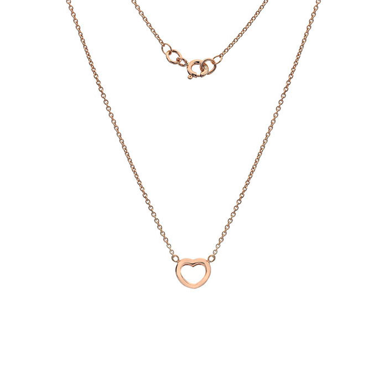 9ct Rose Gold rounded Heart Pendant on Chain