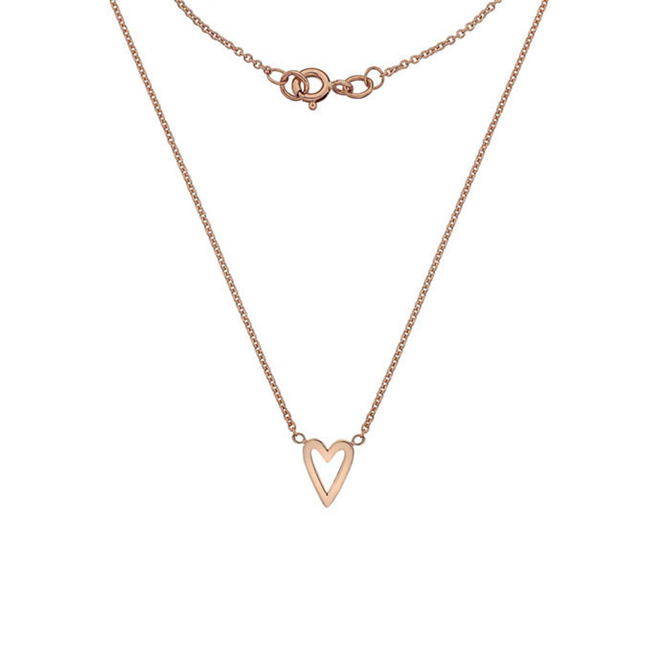 9ct Rose Gold long Heart Pendant on Chain