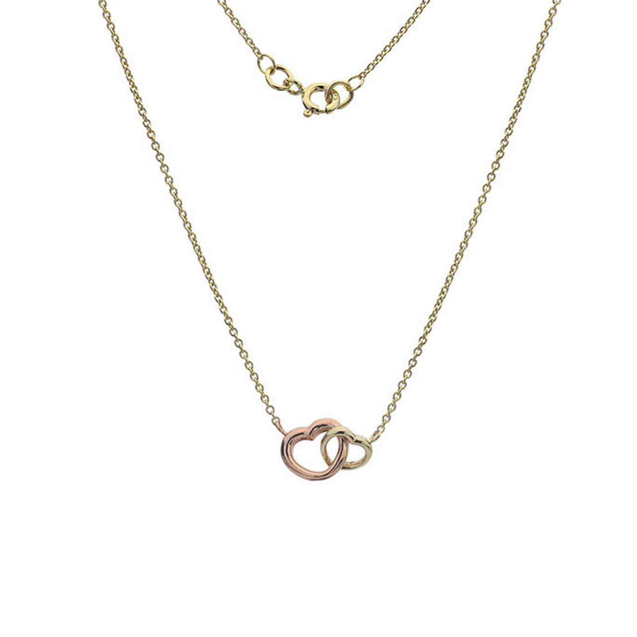 9ct Yellow & Rose Gold Heart Pendant on Chain
