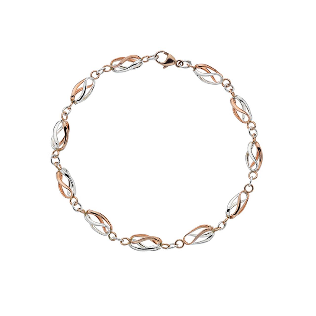 9ct Rose & White Gold Bar link Bracelet.