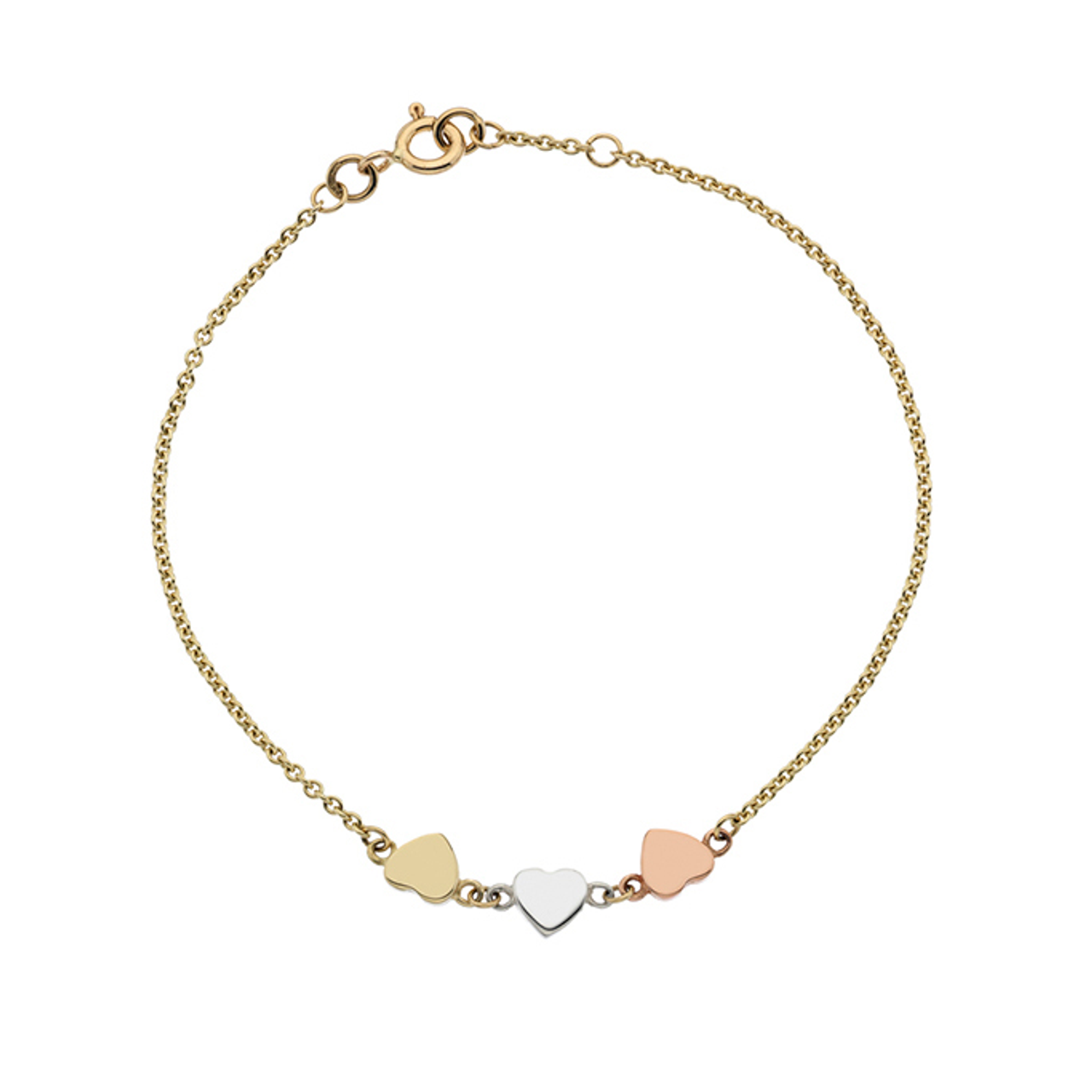 9ct Yellow, White & Rose Gold Heart Bracelet.