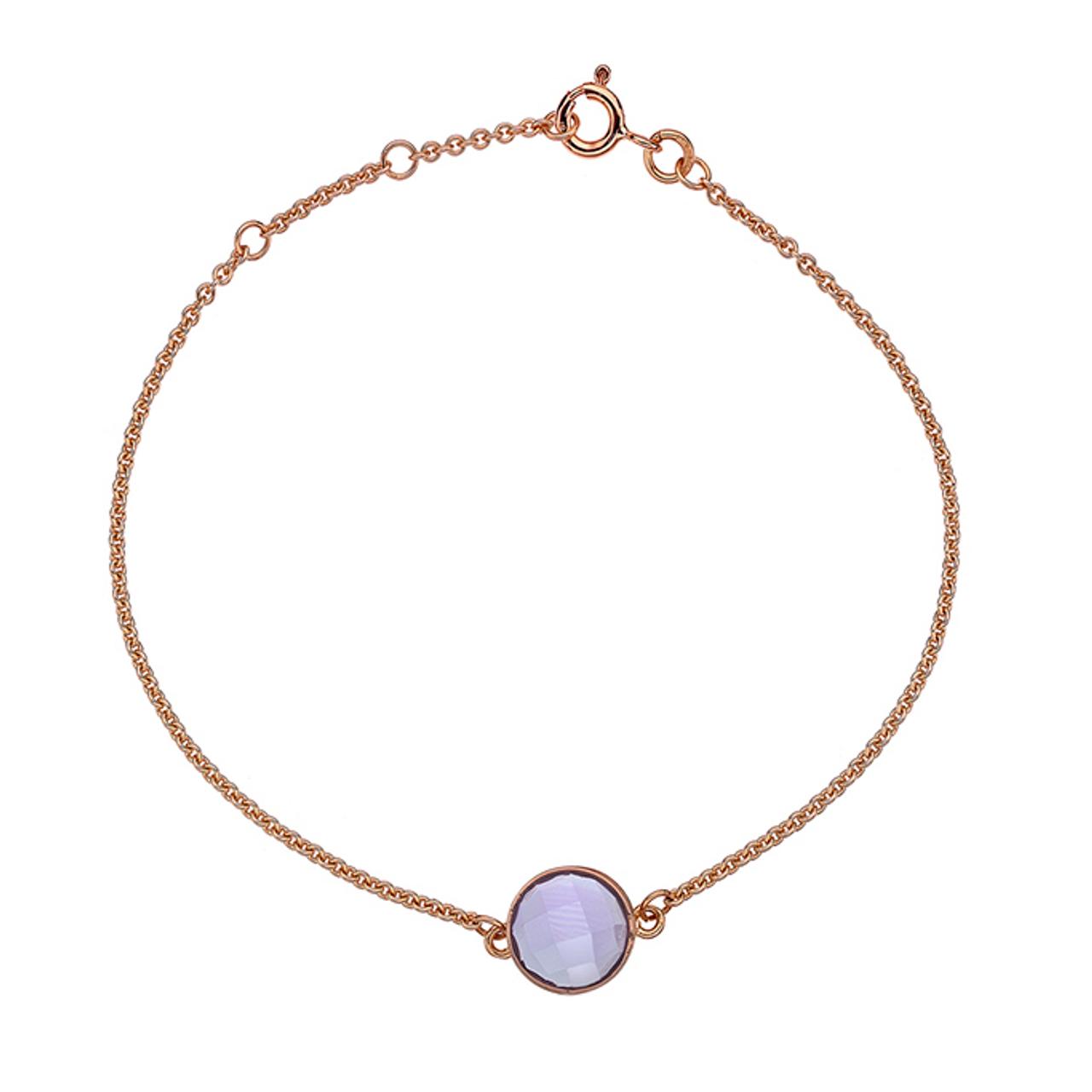 9ct Rose Gold & Amethyst Bracelet
