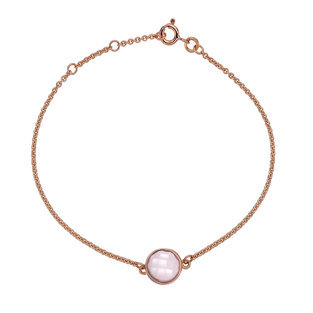 9ct Rose Gold & Rose Quartz Bracelet