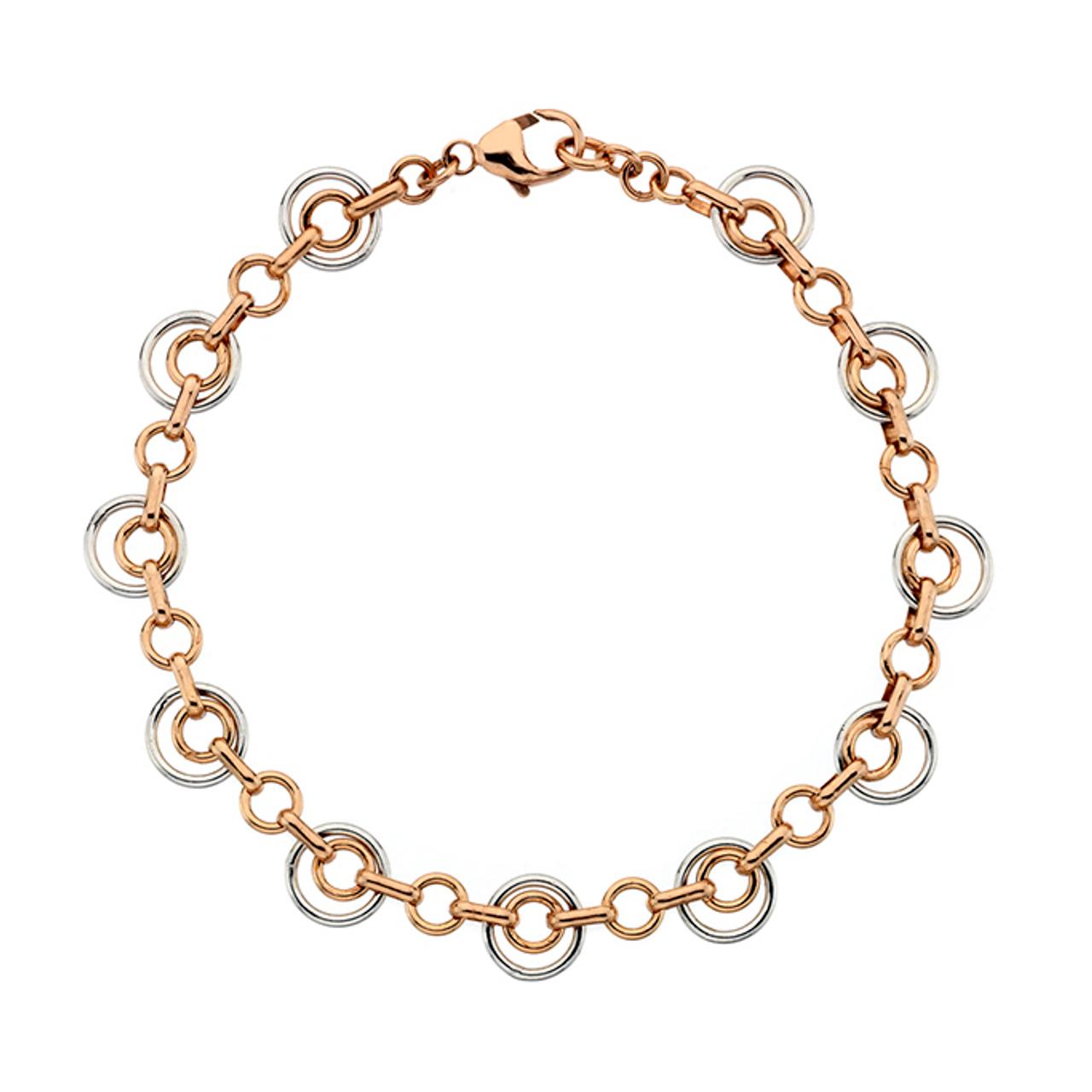 9ct Rose & White Gold double circle Bracelet