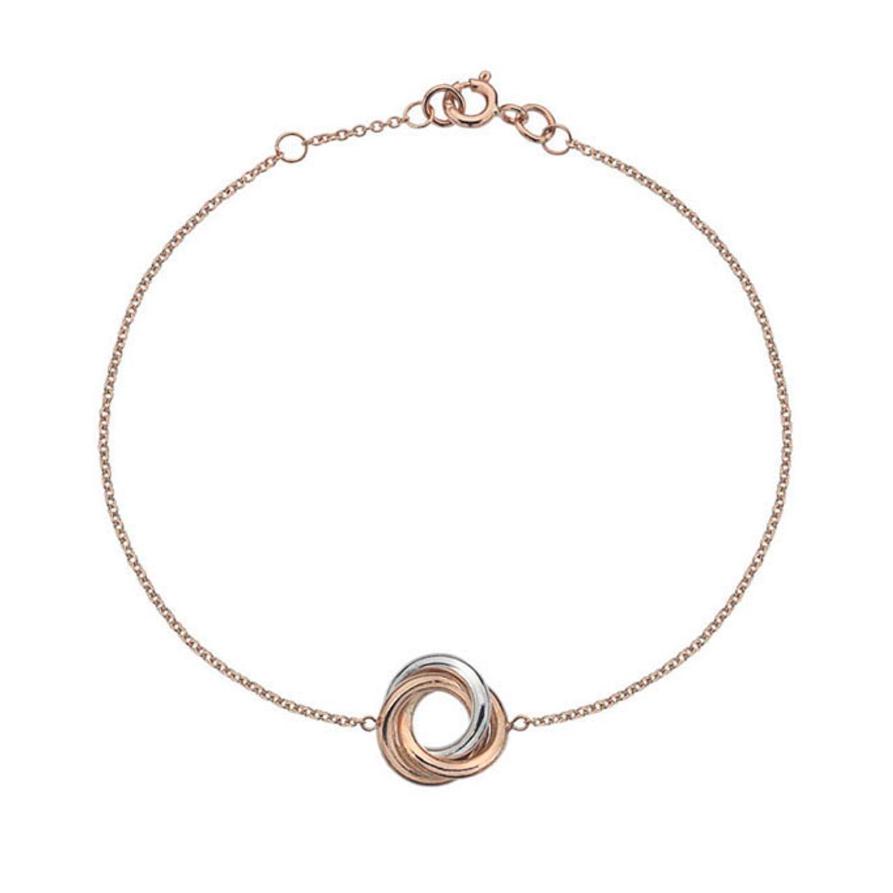9ct Rose & White Gold Love Knot Bracelet