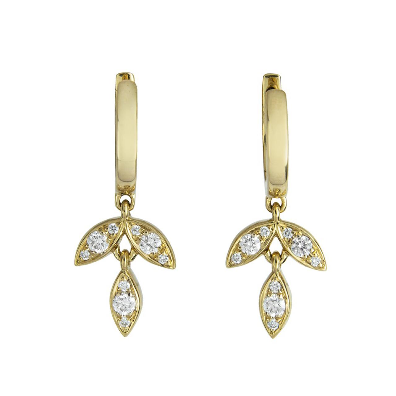 18ct Yellow Gold & Diamond set Barleycorn Drop Earrings