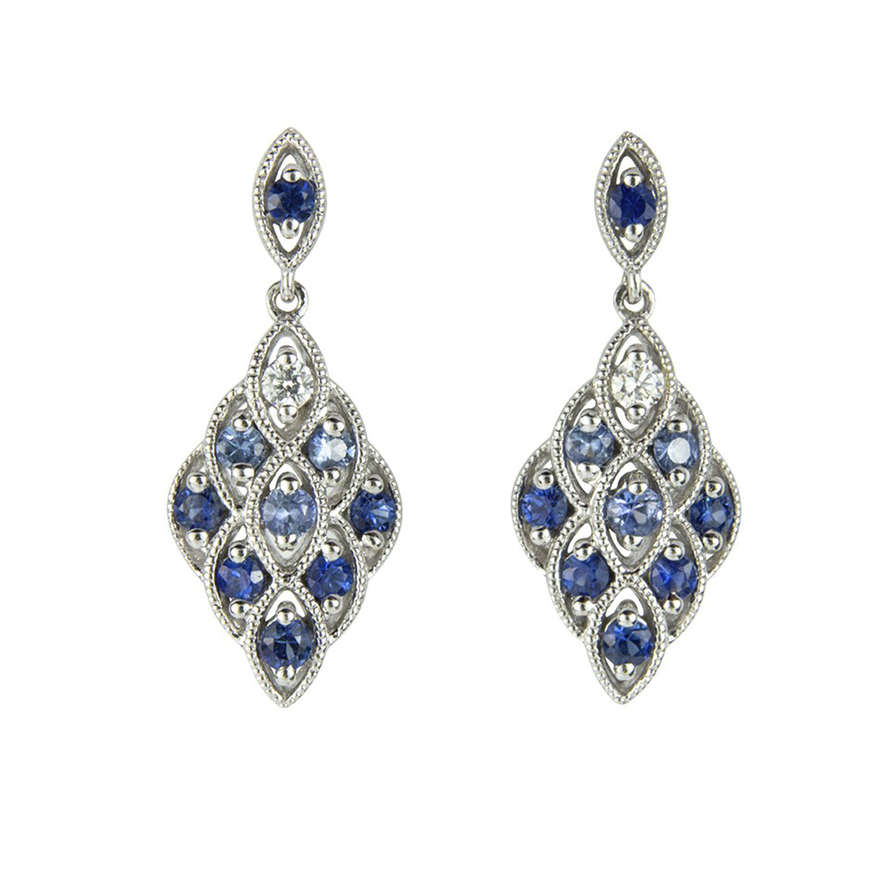 18ct White Gold Sapphire & Diamond Lace Earrings