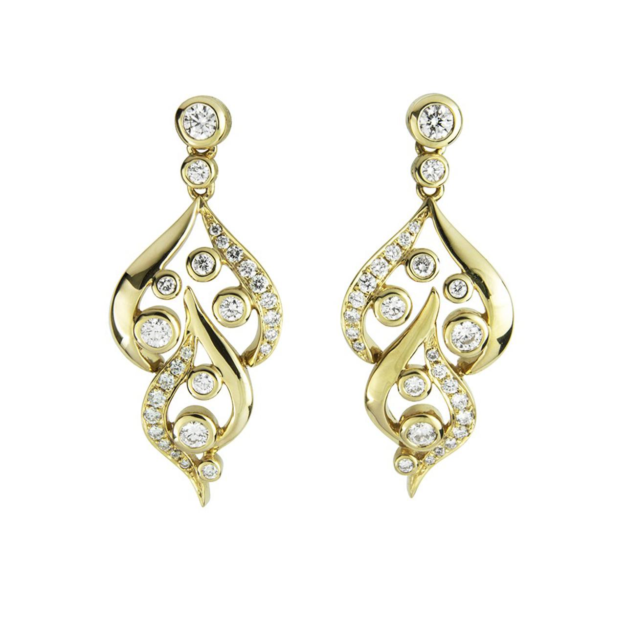 3416ea827 18ct Yellow Gold & Diamond Flame Drop Earrings