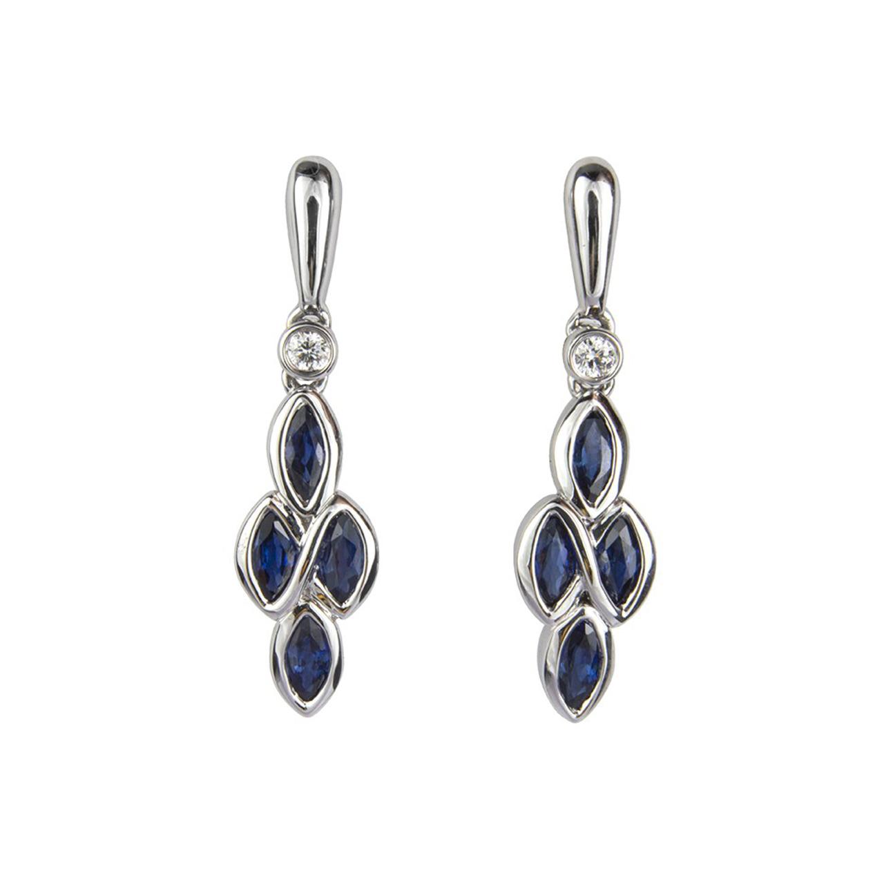 18ct White Gold Sapphire & Diamond Eternal Earrings