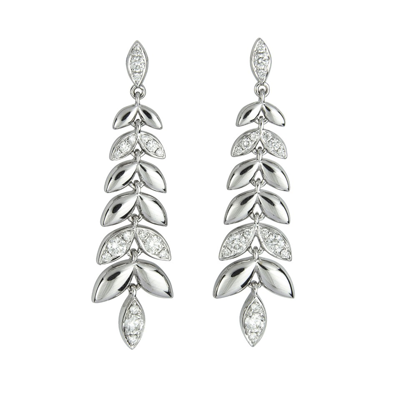 18ct White Gold Diamond Barleycorn Drop Earrings