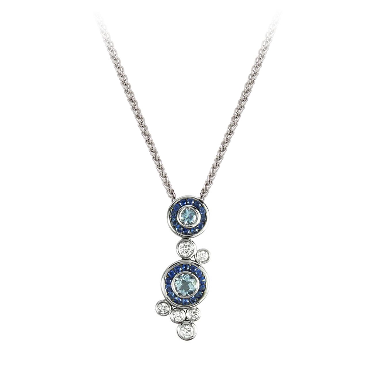 18ct White Gold Dewdrop Pendant & Chain