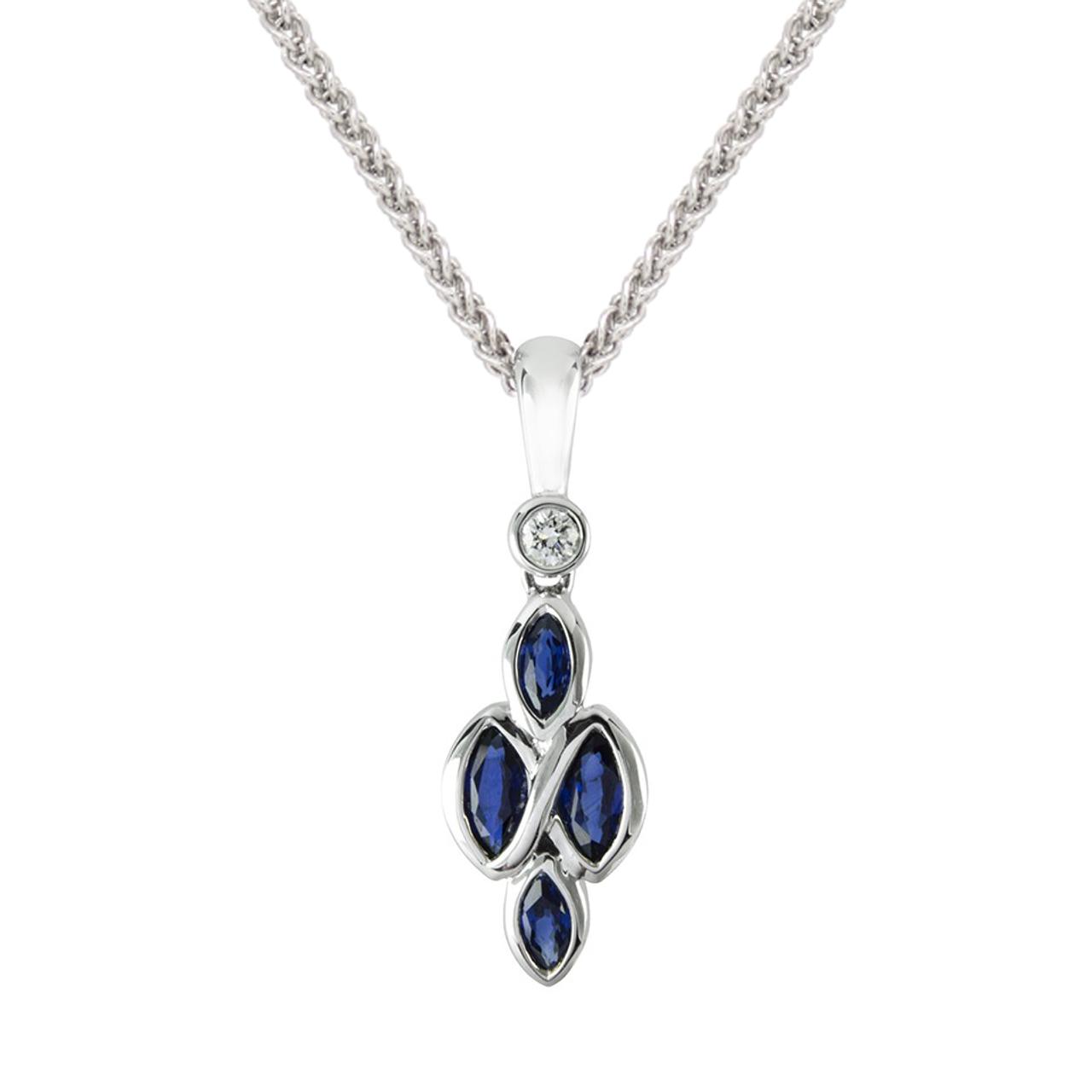 18ct White Gold Sapphire & Diamond Eternal Pendant & Chain