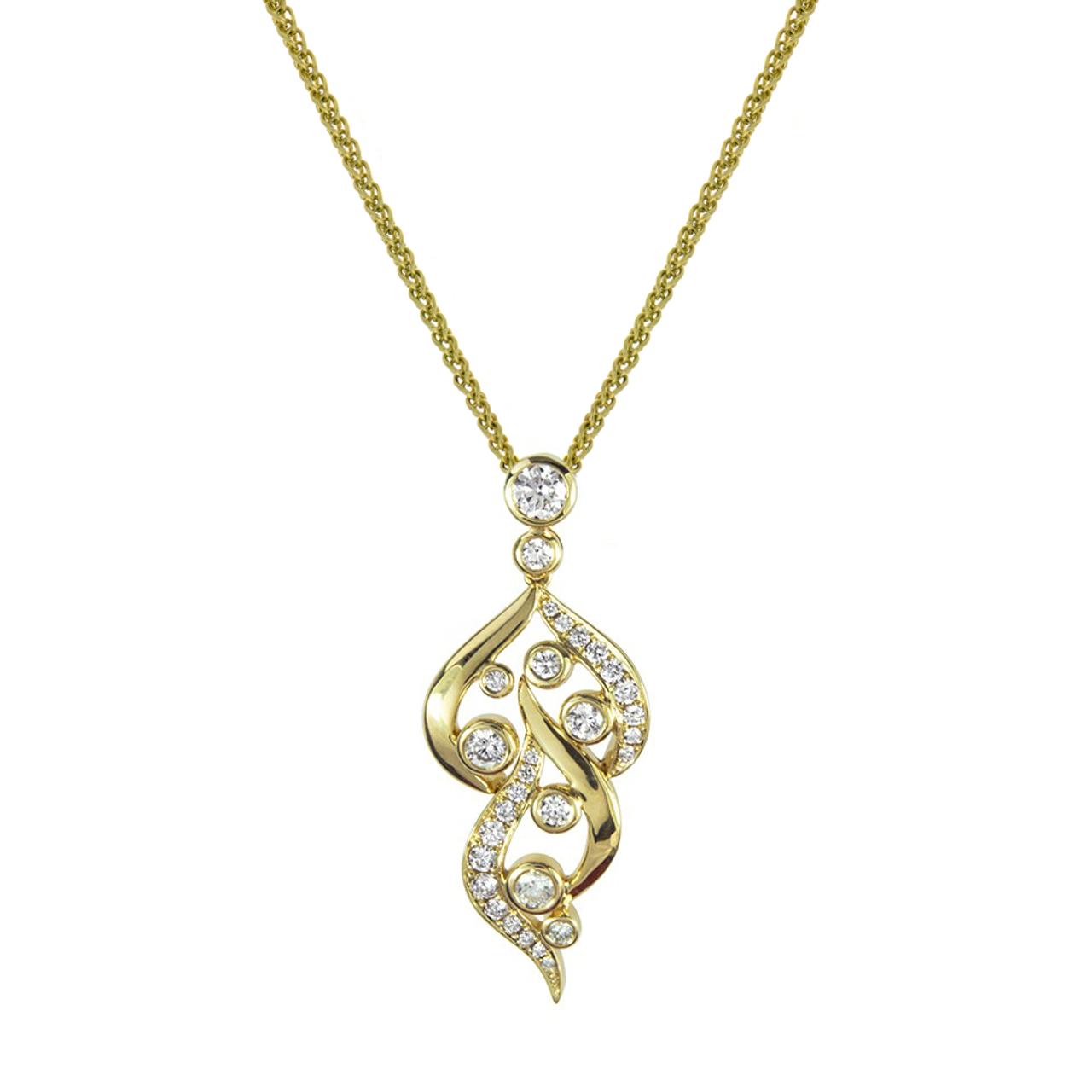 18ct Yellow Gold & Diamond Flame Pendant & Chain