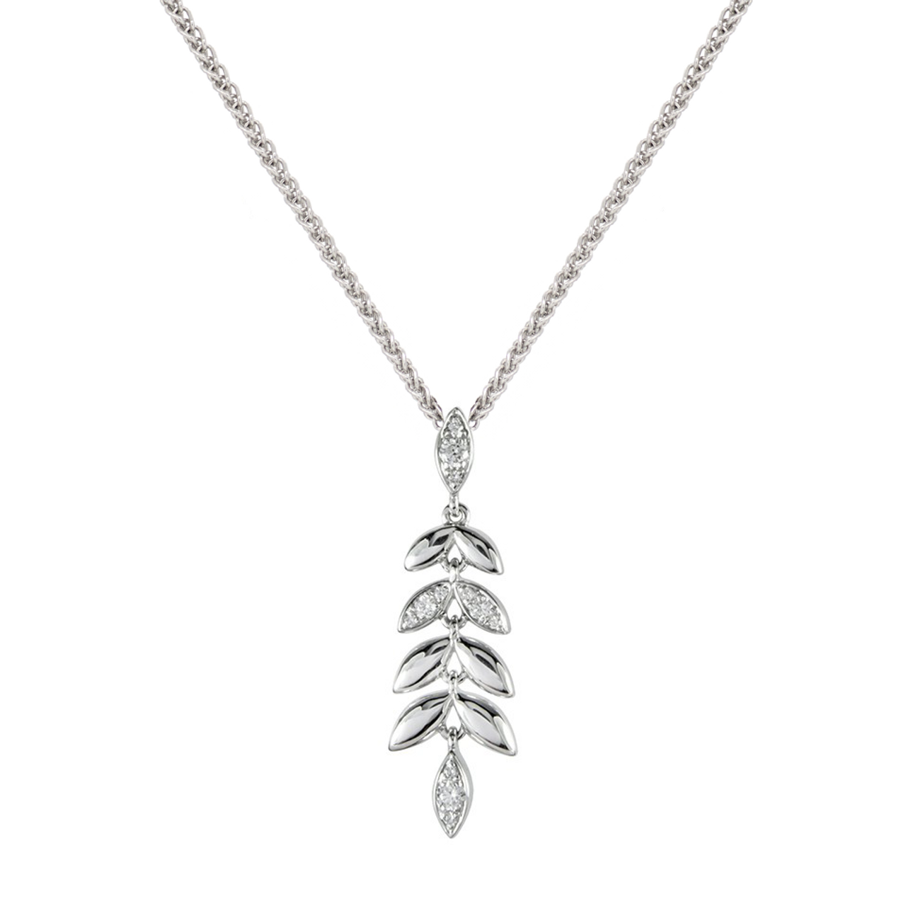 18ct White Gold Diamond Barleycorn Pendant & Chain