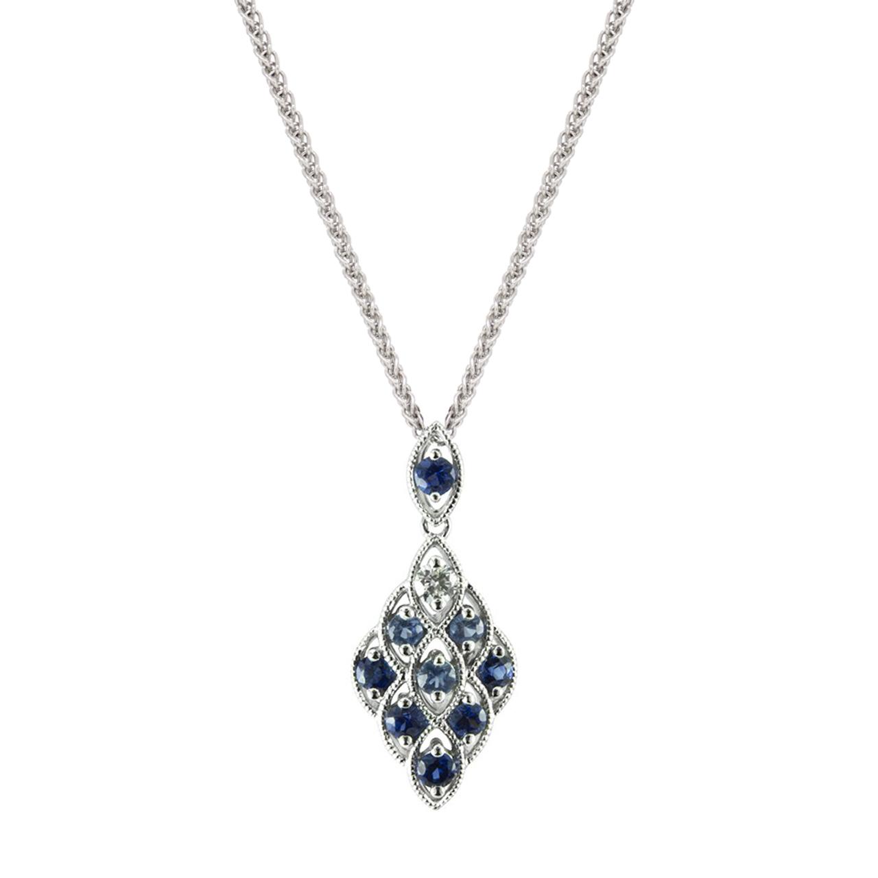 18ct White Gold Sapphire & Diamond Lace Pendant & Chain