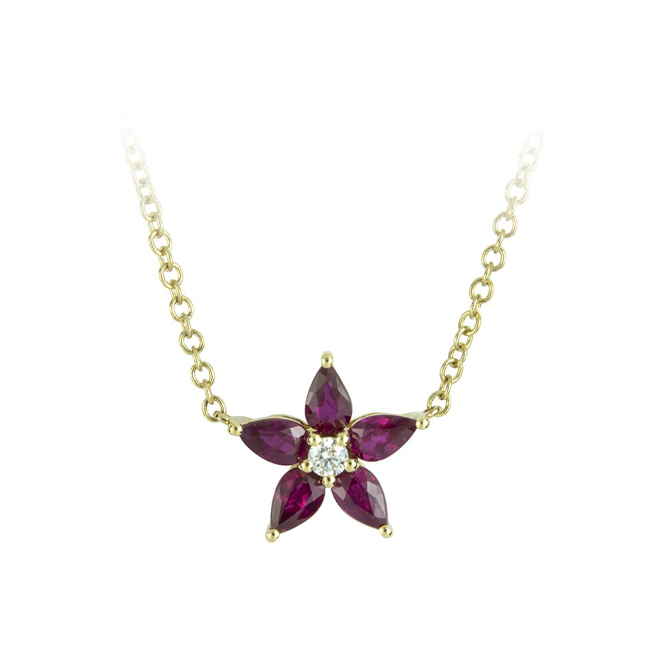 18ct Yellow Gold Ruby & Diamond Petal Necklace