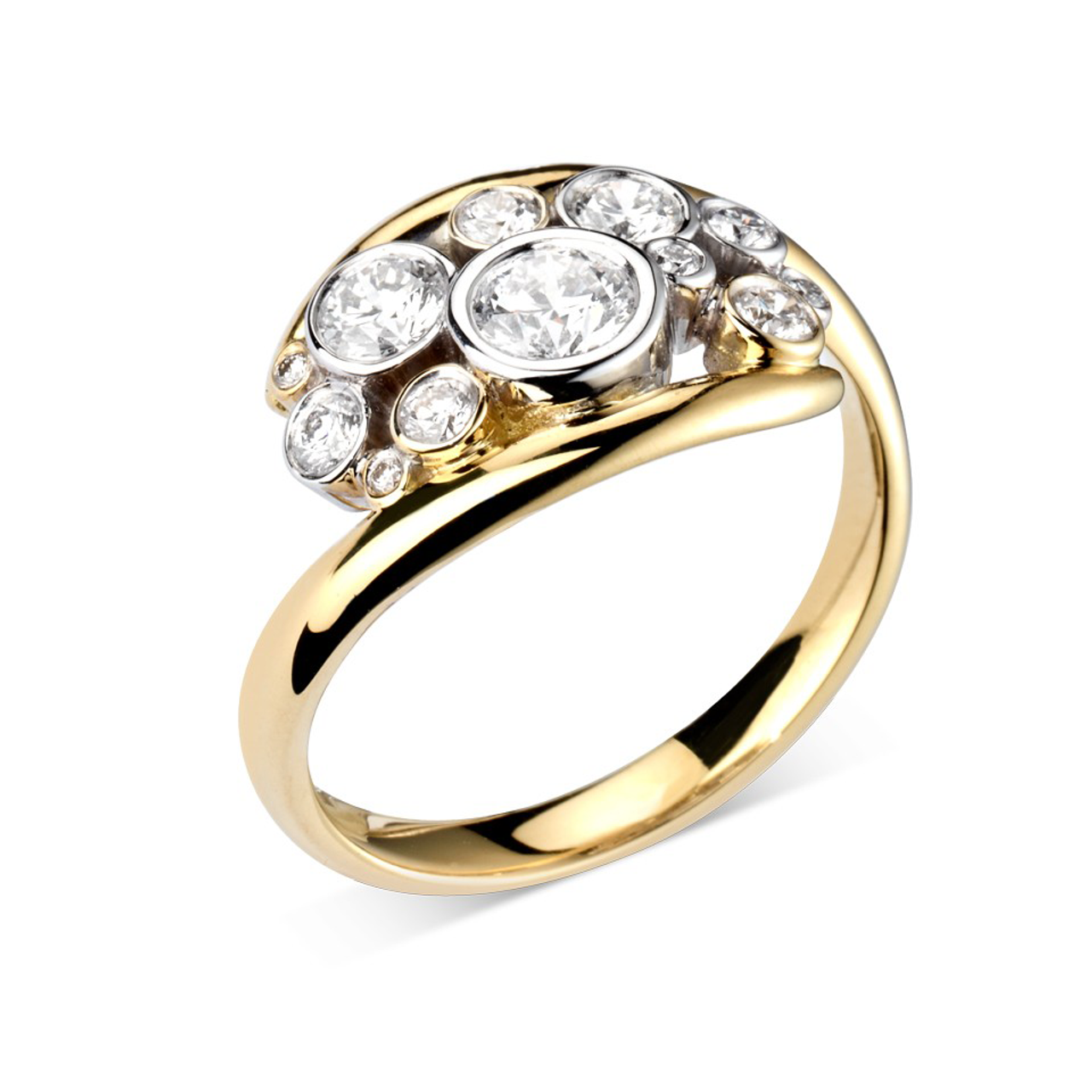 18ct Yellow & White Gold Diamond bubble Ring