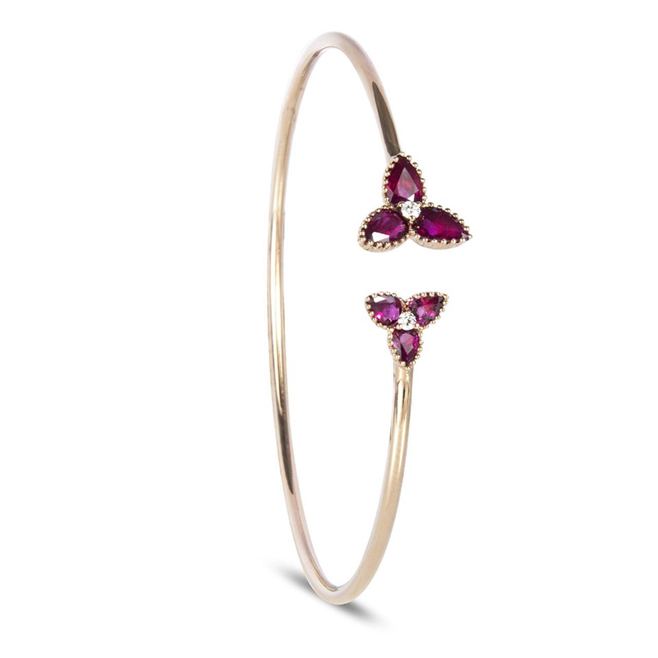 18ct Rose Gold Ruby & Diamond Trefoil bangle