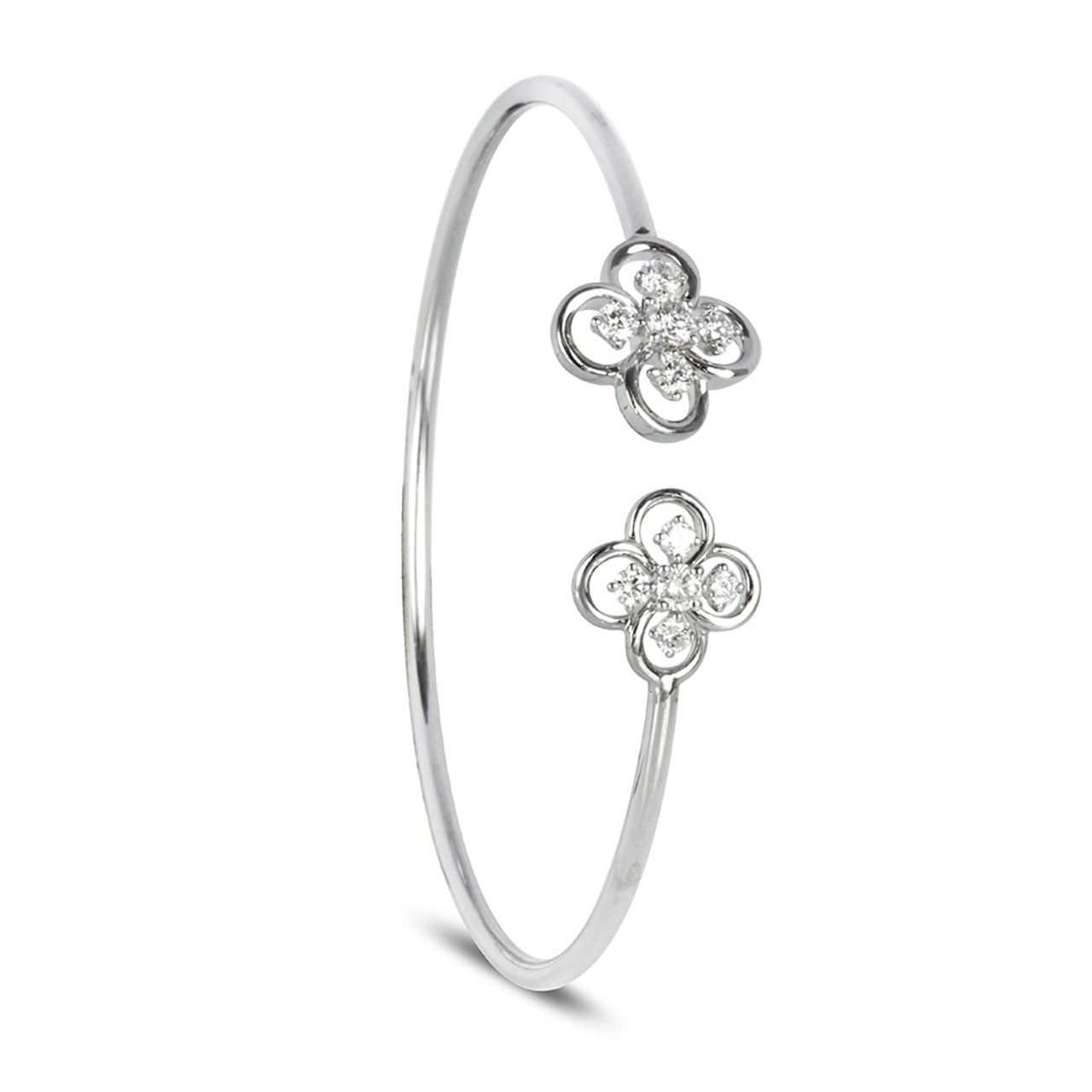 18ct White Gold & Diamond set Blossom Bangle