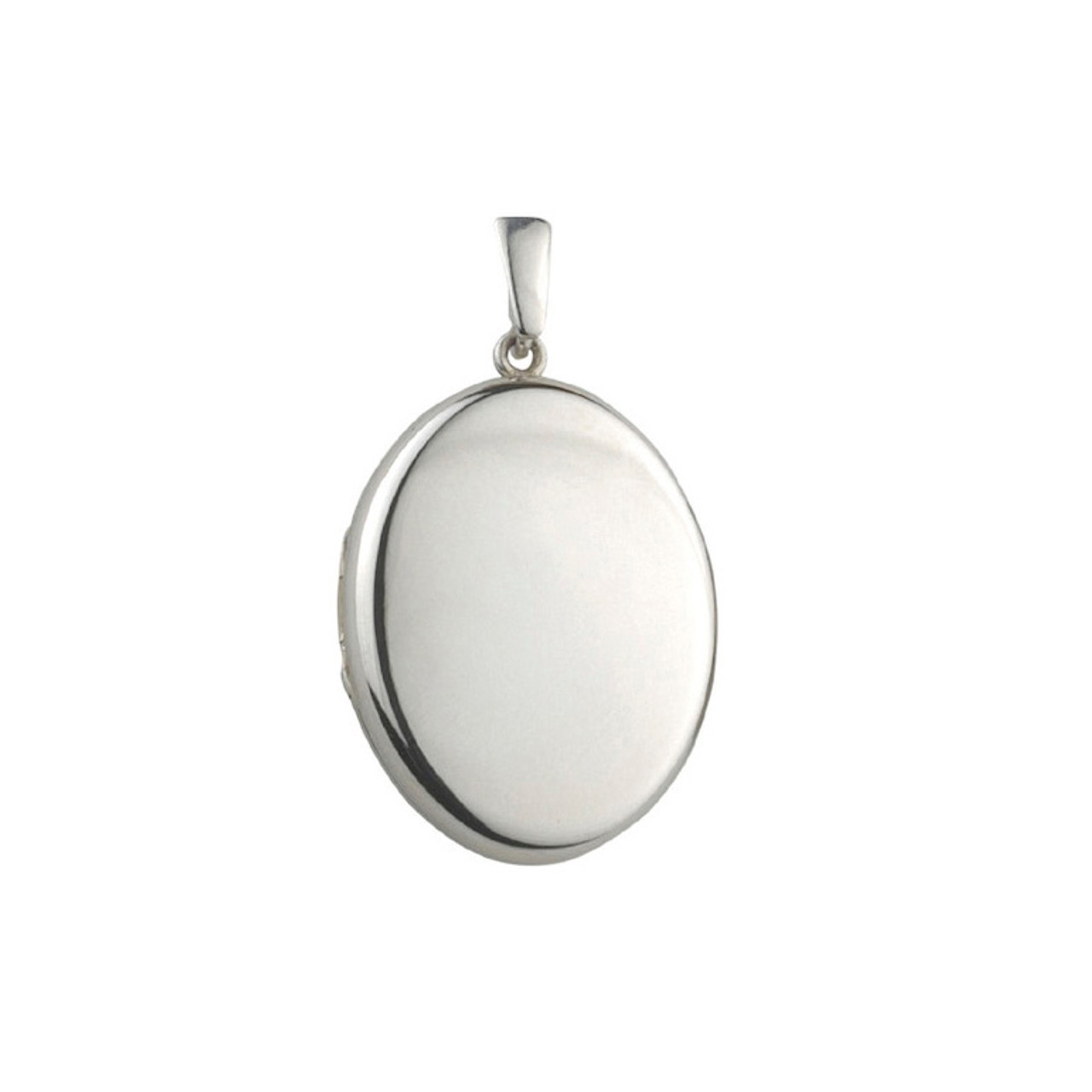 Silver 32mm Oval Locket & Chain