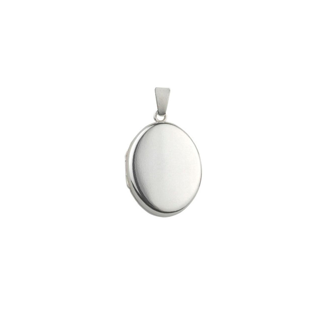 Silver 20mm Oval Locket & Chain