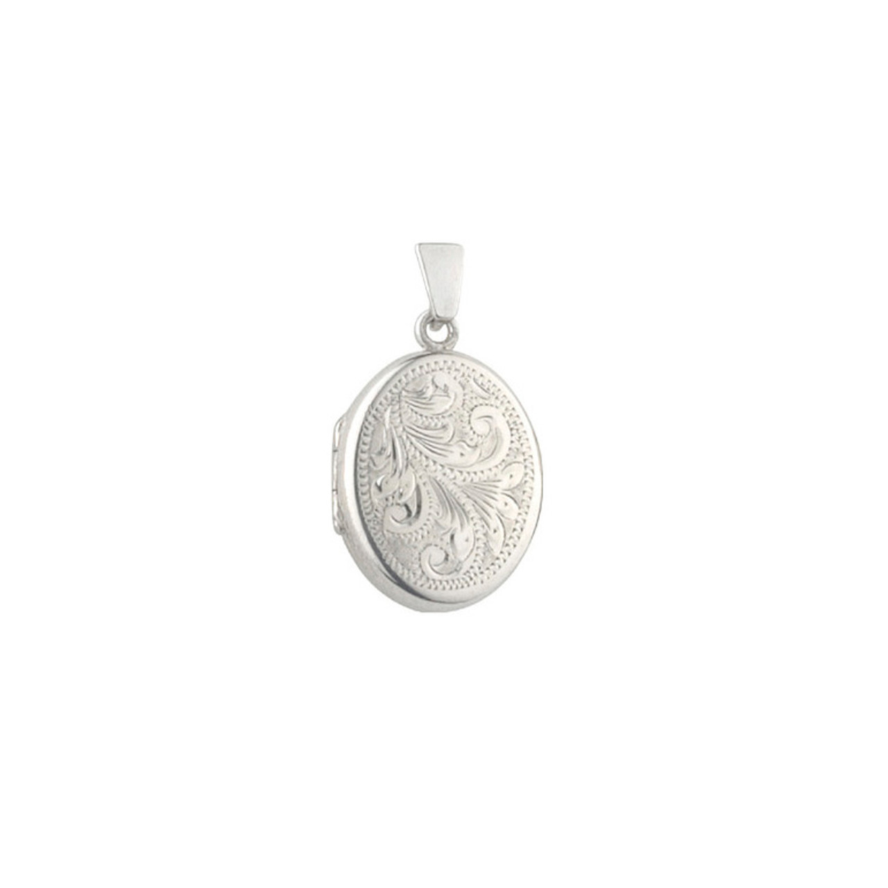 Silver Engraved 20mm Oval Locket & Chain