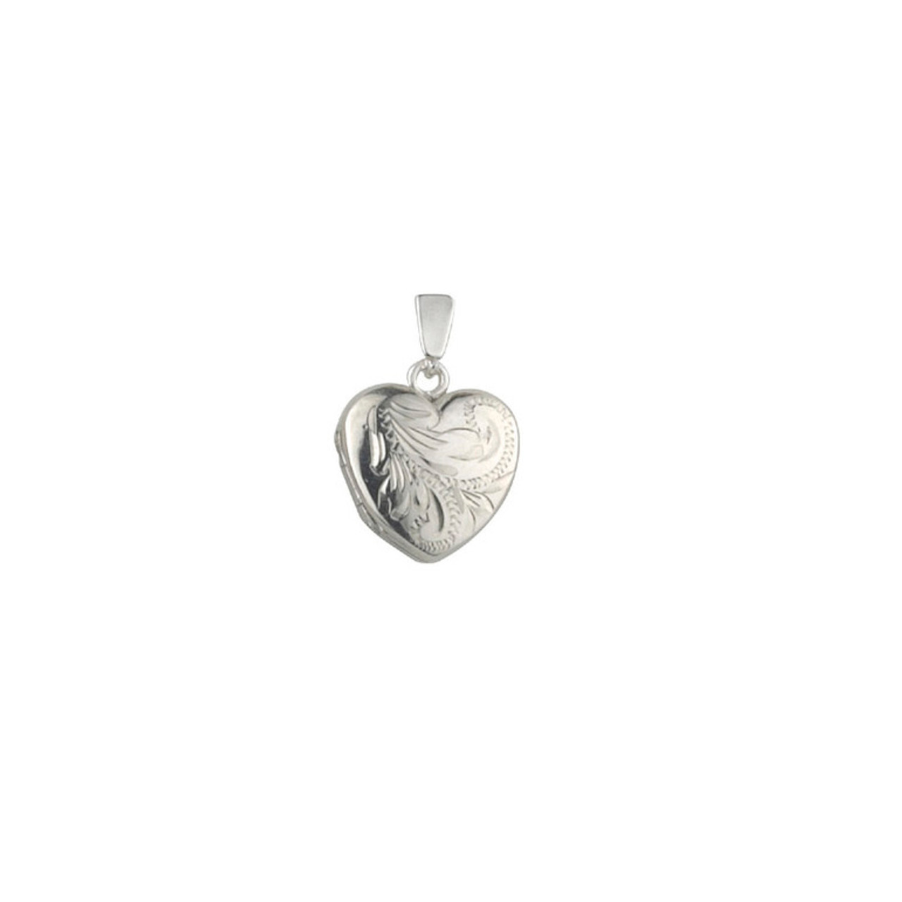 Silver Engraved 15mm Heart shaped Locket & Chain
