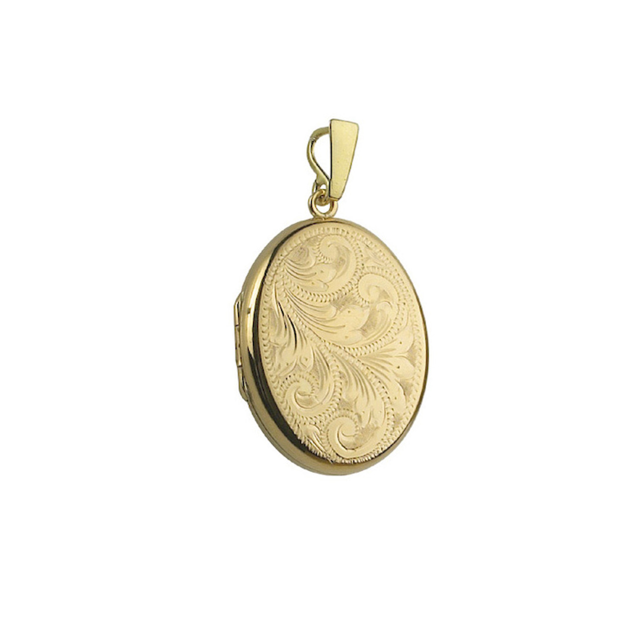 9ct Yellow Gold Engraved 28mm Oval Locket & Chain