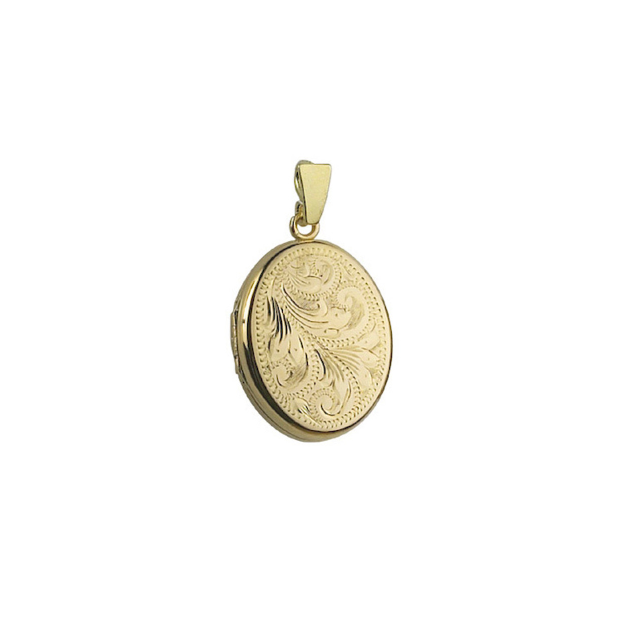 9ct Yellow Gold Engraved 20mm Oval Locket & Chain