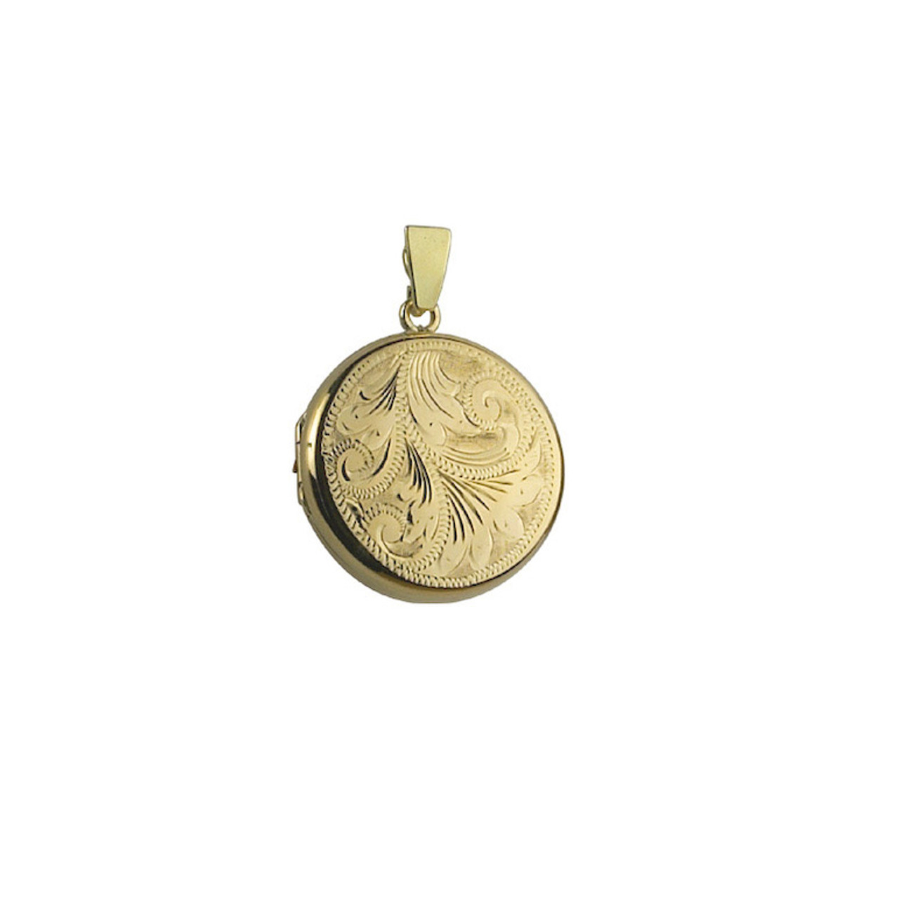 9ct Yellow Gold Engraved 20mm round Locket & Chain