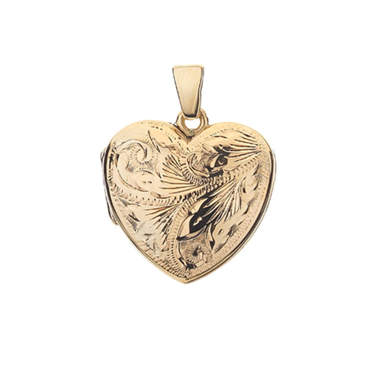 9ct Yellow Gold Engraved 19mm Heart shaped Locket & Chain