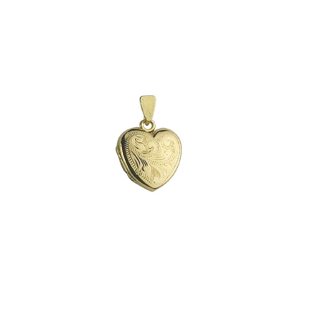 9ct Yellow Gold Engraved 15mm Heart shaped Locket & Chain