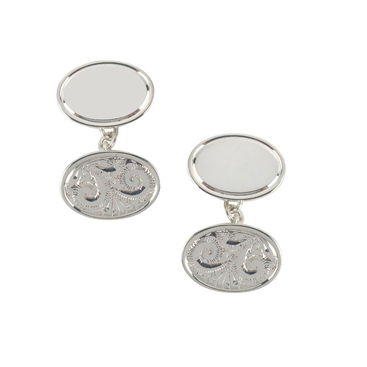 Silver Hand-Engraved Oval double Cufflinks