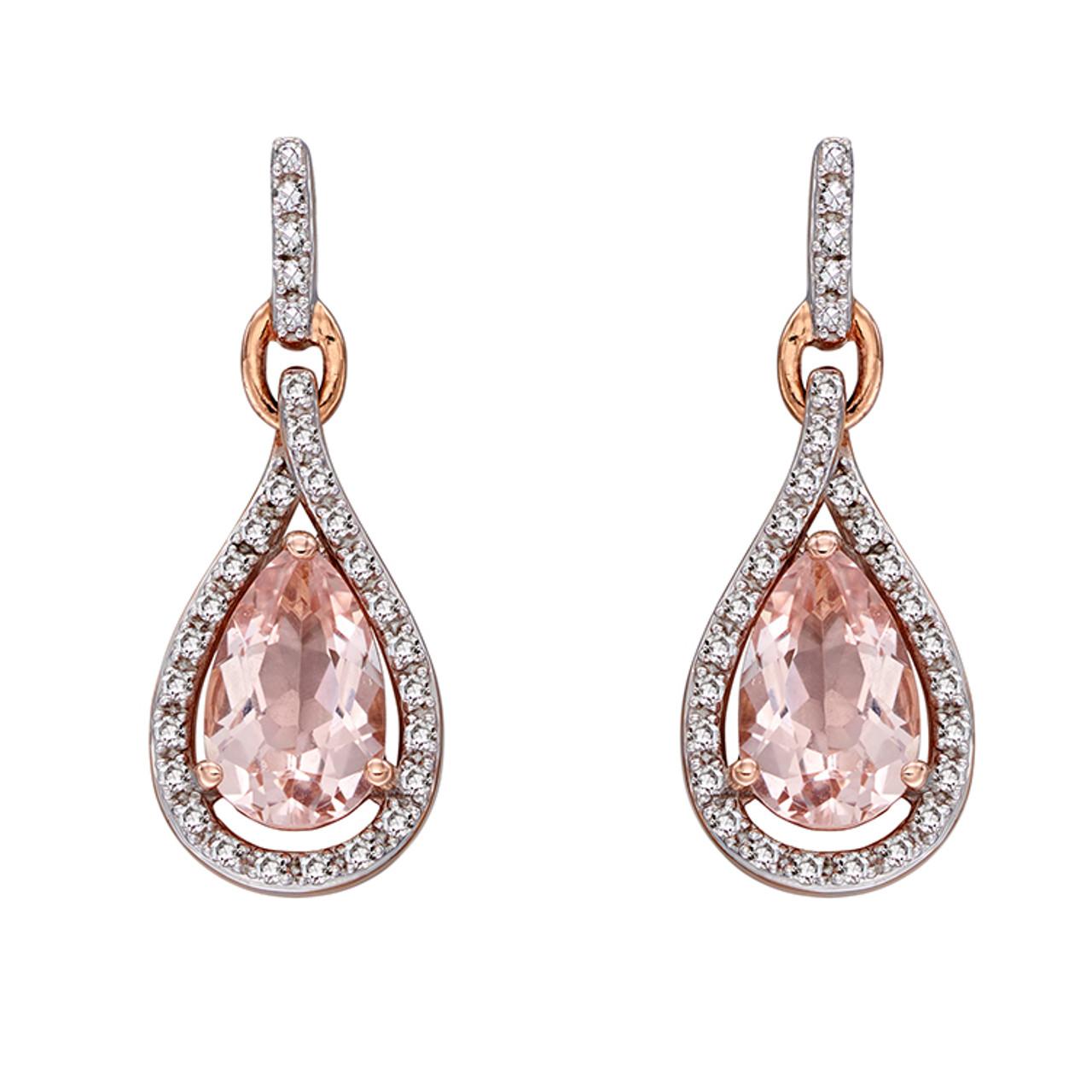 9ct Rose Gold Morganite & Diamond Drop Earrings
