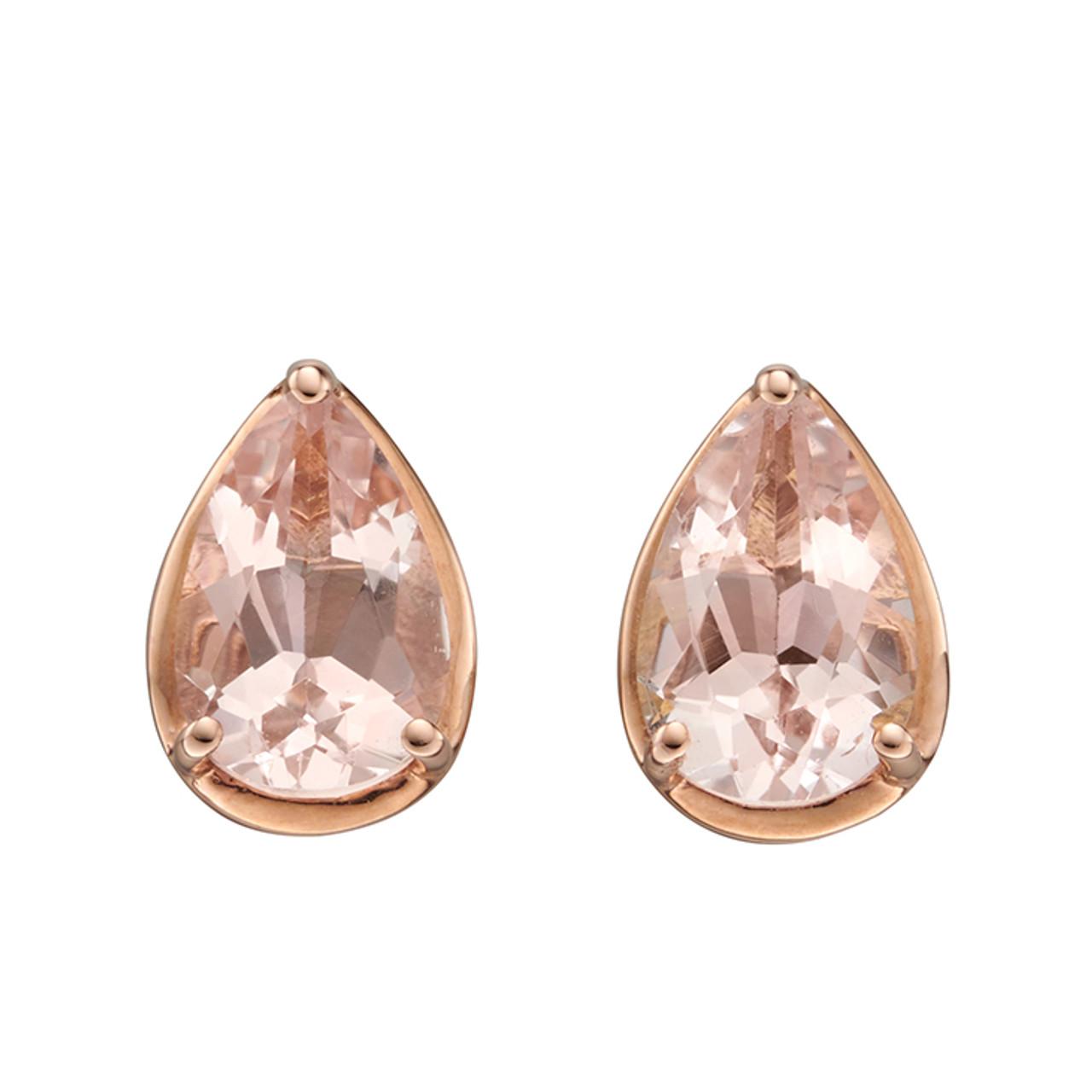 9ct Rose Gold & Morganite Stud Earrings