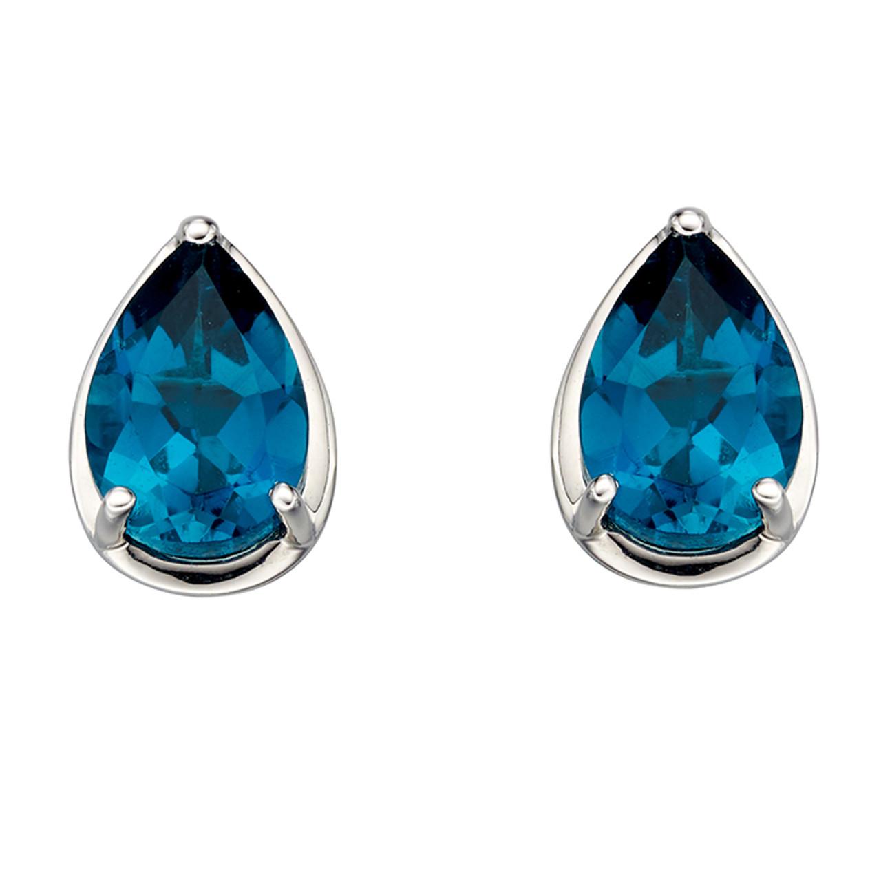 9ct White Gold & Blue Topaz Stud Earrings